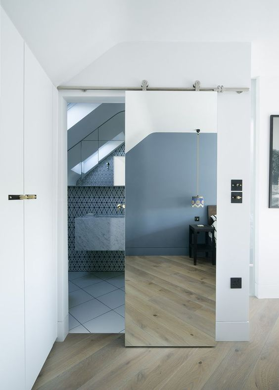 a sliding mirror door is a cool way to add light and space to the room, besides it may act as a real mirror in a bathroom or closet