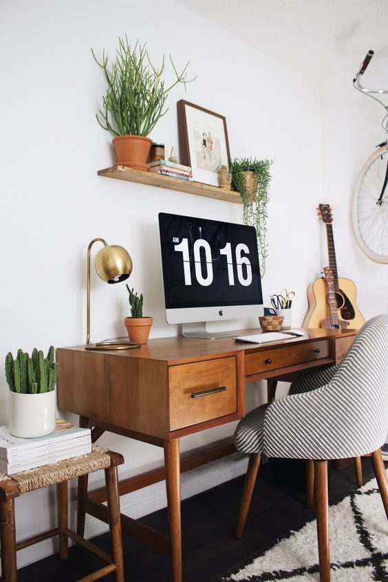 a stylish mini home office in mid-century modern style
