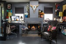 a cute eclectic home office design