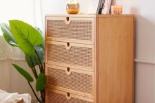 a stylish cane dresser is a lovely fit for a modern or boho bedroom, it looks more lightweight than a usual piece
