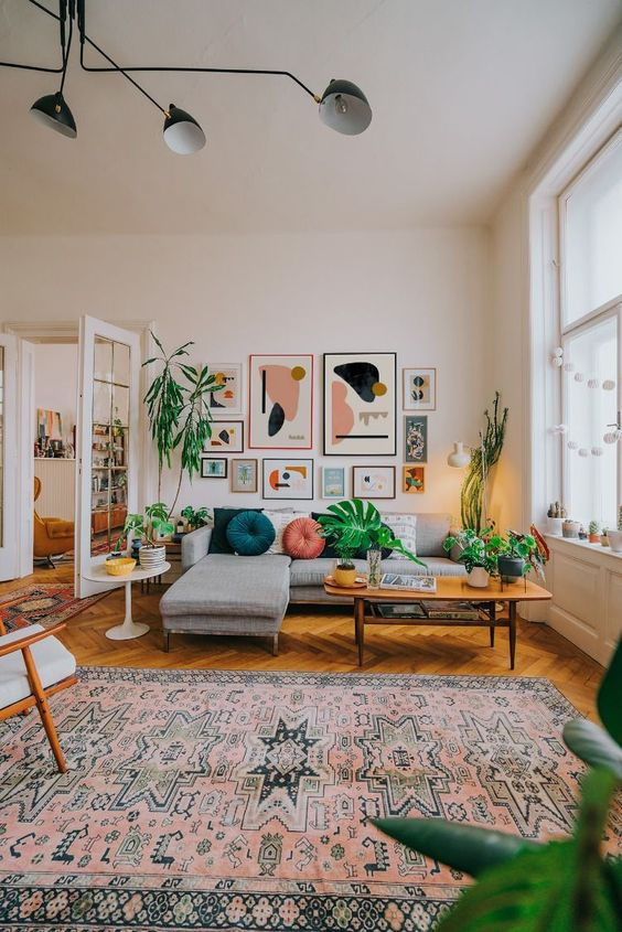 living room with a stylish gallery wall