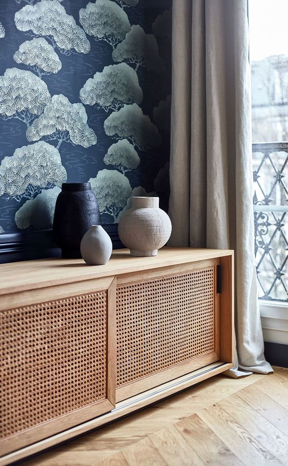 a stylish sideboard with sliding cane doors is a lovely idea for any modern space, it looks very simple and very lightweight