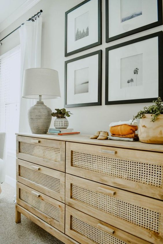 an IKEA Tarva dresser hack with cane is a very stylish and chic piece that doesn't look like an original IKEA unit at all