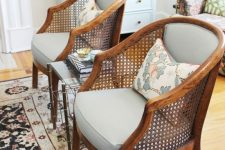 beautiful and chic lounge chairs with cane backs are a stylish solution with a slight retro feel is a cool idea