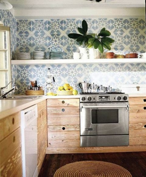 a cozy rustic kitchen with wooden cabinets