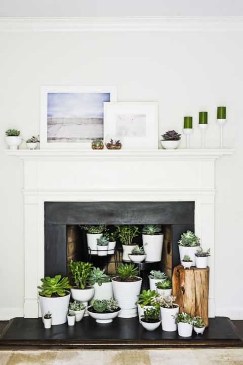 a built-in fireplace with a white mantel, a whole arrangement of potted succulents on display and some candles and artworks for a breezy look