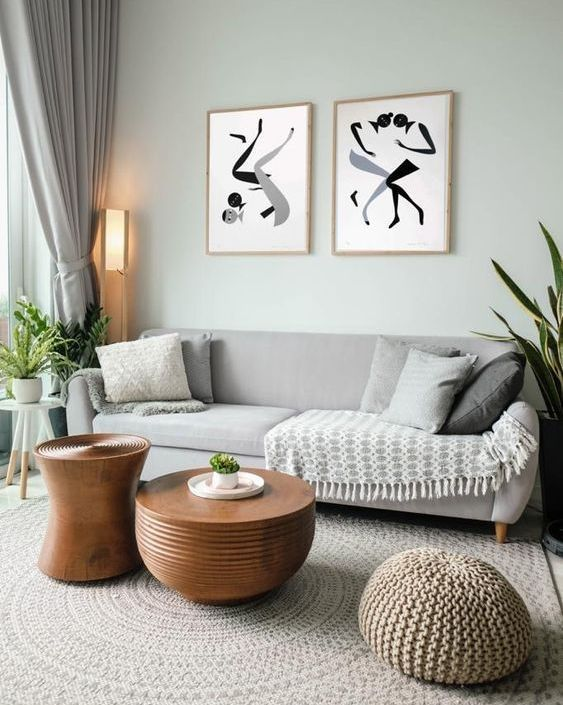 a living room with a small gallery wall