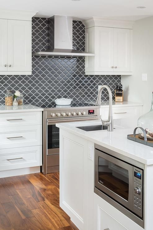 a chic white kitchen with shaker style cabinets, a graphite grey arabesque tile backsplash for a contrast and elegantly built-in appliances