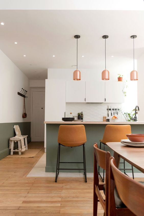 a contemporary kitchen with sleek white cabinets, a green kitchen island, amber leather stools and copper pendant lamps
