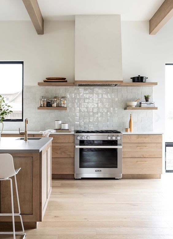 a contemporary kitchen with stained cabinetry, open shelves, a white hood, wooden beams that echo with the cabinets