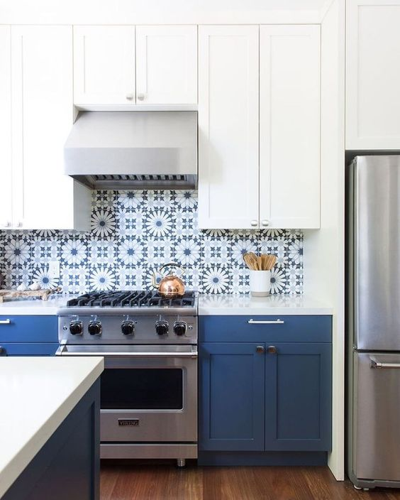 a fab two-tone kitchen with white and navy cabinets and bold blue Moroccan tiles on the backsplash is a fantastic idea