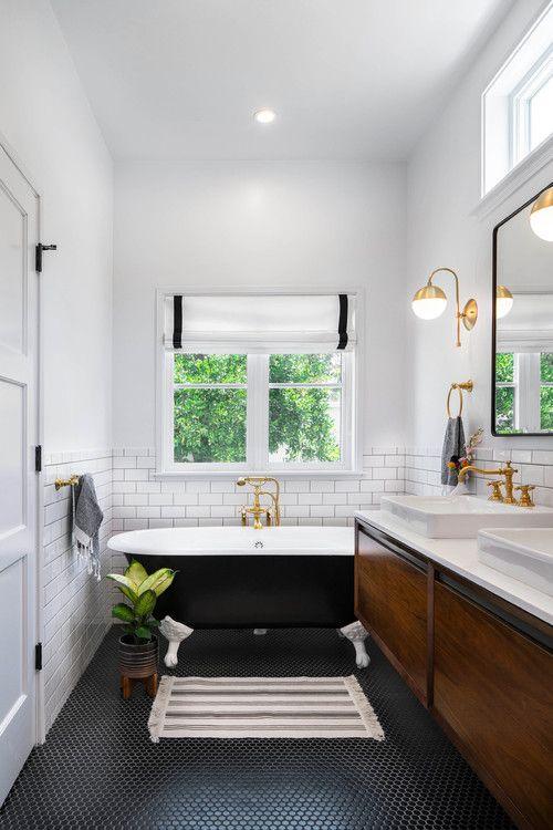 a cute mid-century modern bathroom design