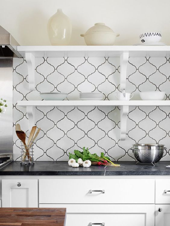 a stylish black and white kitchen with a creative backplsash