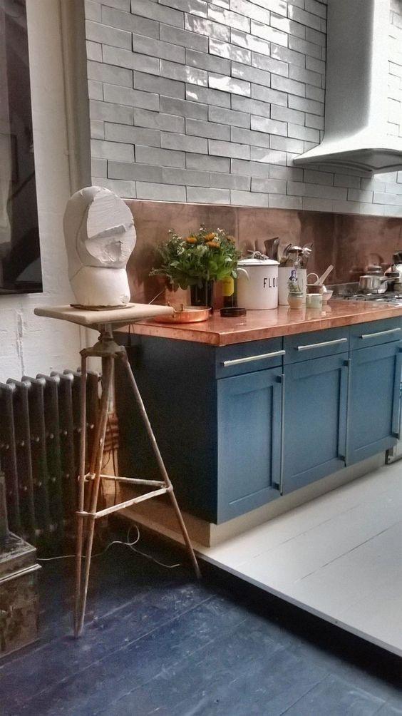 a stylish blue-copper kitchen design