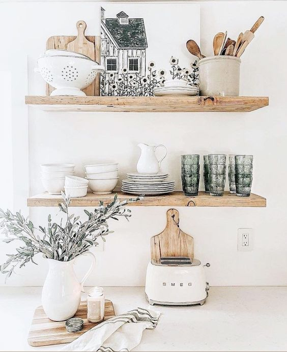 light-stained floating shelves can substitute an upper cabinet and make your space look amazing