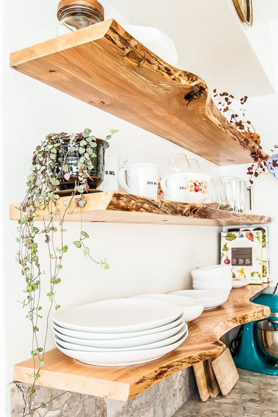 living edge floating shelves will give a very cool natural feel to your kitchen and you can also DIY them