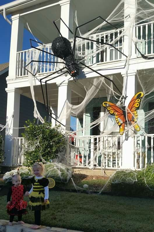 spiderweb, an oversized spider, a bold butterfly for styling a house for Halloween is a great idea to rock