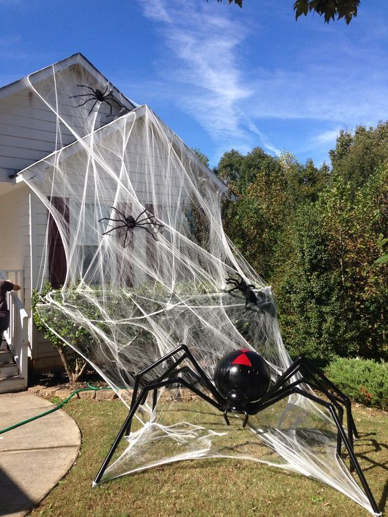 realistic spiderweb and realistic giant black and red spiders will make your house look very Halloween-like, you won't need other decor