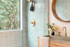 a stylish mid-century modern bathroom design