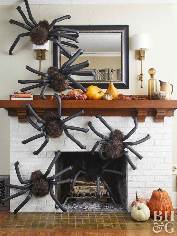 fluffy yet scary giant spiders covering the fireplace will make your living room feel like Halloween at once and will frighten some guests