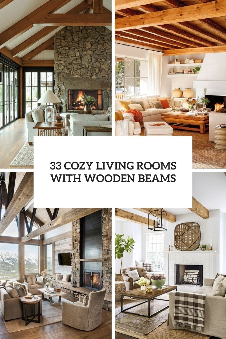 cozy living rooms with wooden beams cover