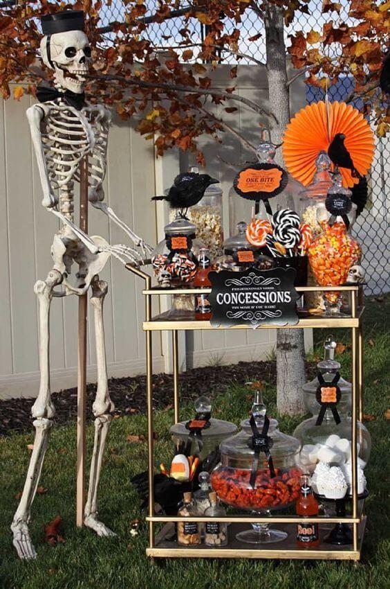 a stylish halloween bar cart