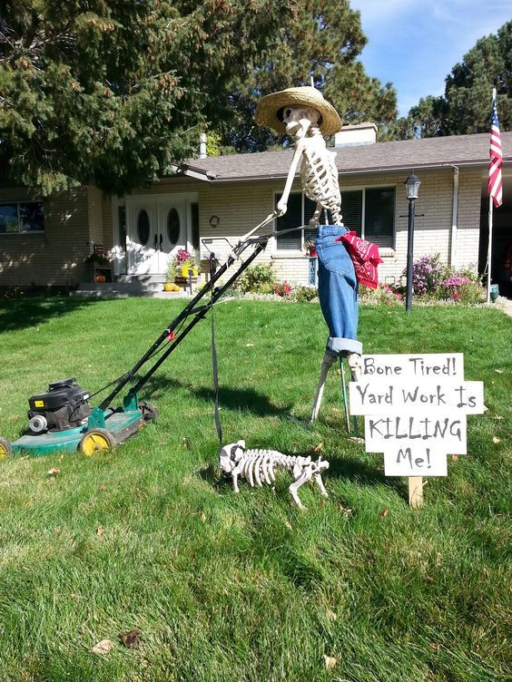 a Halloween outdoor space with a skeleton on the grass plus a skeleton dog is a cool and fun idea for this holiday