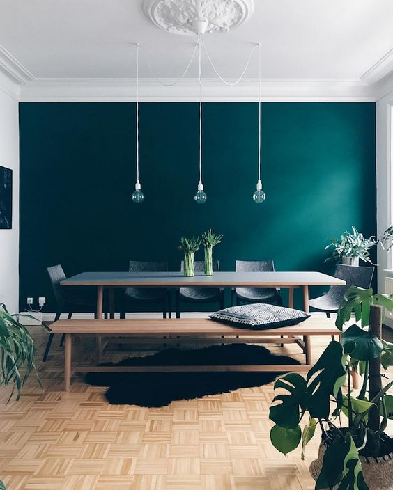 a beautiful Scandi dining room with an emerald accent wall, a dining table, bench and chairs plus pendant bulbs and potted plants