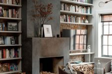 a cozy living room with a fireplace and firewood storage