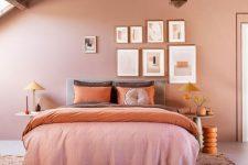 a stylish pink attic bedroom design
