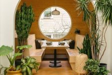 a cozy round dining nook