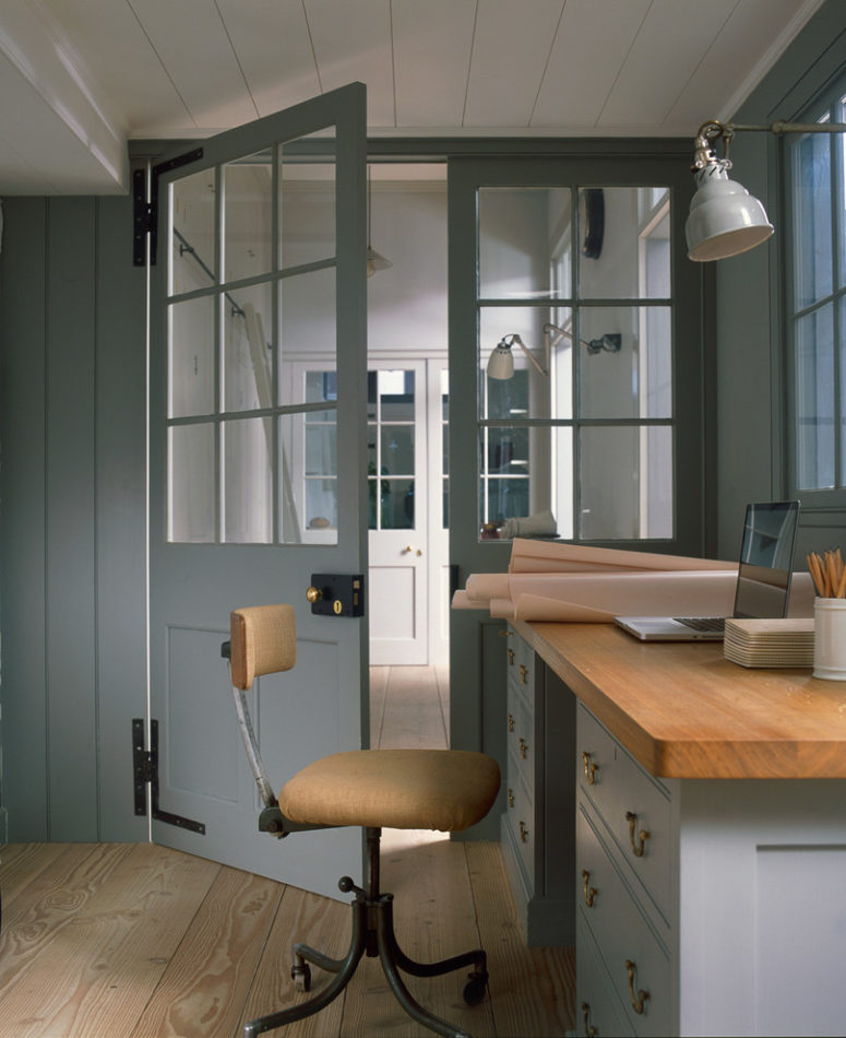 a stylish grey home office design