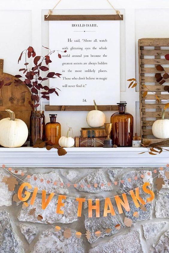 cute thanksgiving mantel decor
