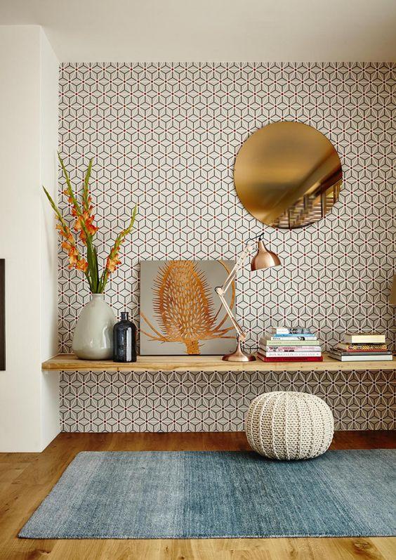 a geometric mid century modern living room decor