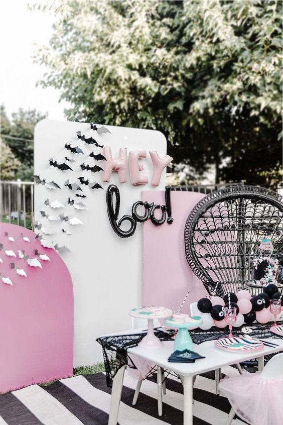 a glam halloween backyard decor for a party