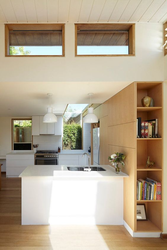 a neutral kitchen with modern furniture, with clerestory windows for more natural light and some large windows for the views