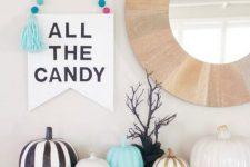 a cute colorful mantel halloween decor