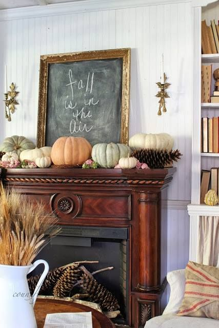 a rustic fall mantel with woodland touches - neutral and pastel heirloom pumpkins, giant pinecones and more pinecones next to the fireplace