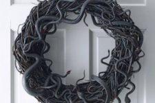 a simple snake halloween wreath