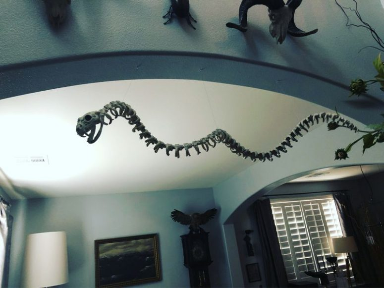 a snake skeleton like this one can be placed on your lawn or hung somewhere in your home and will look awesome