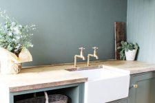 a cozy green kitchen design