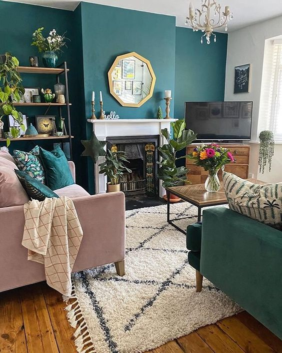 a cool green living room design
