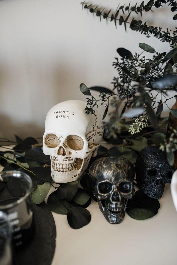 modern halloween display with a skull
