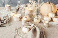 a stylish neutral fall table setting