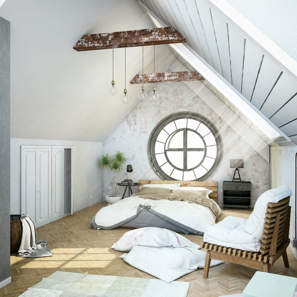 an eclectic bedroom with a large porthole window at the headboard as a decor statement in the space that provides much natural light