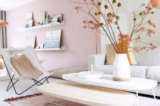 a cute pink living room design