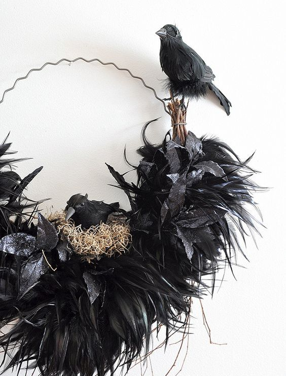 an out of the box Halloween wreath showing a raven nest is a lovely idea, use faux blackbirds and feathers to construct one
