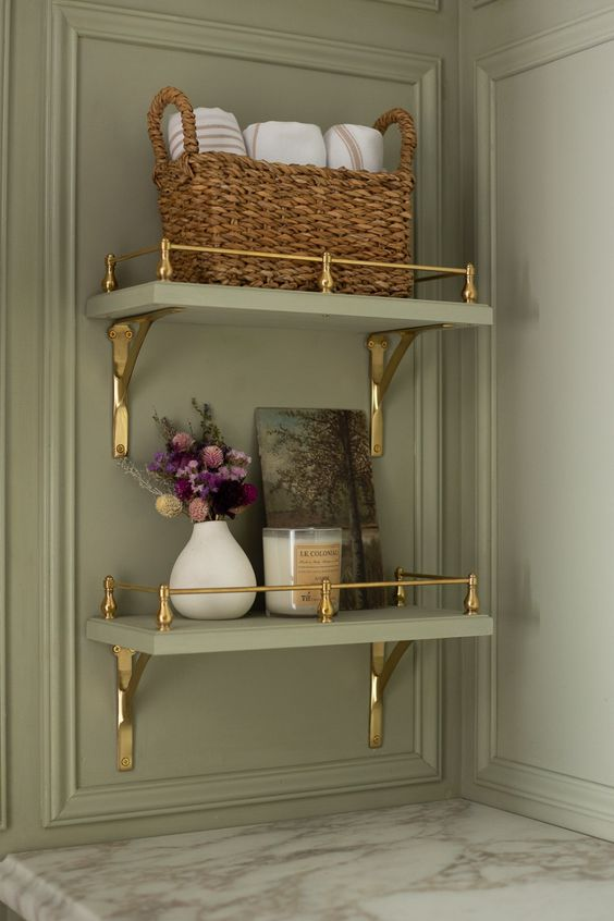 elegant brass and green shelving is suitable for any space and will give a chic and stylish vintage feel to the room