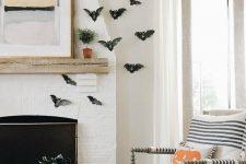 paper bats is an easy halloween decor
