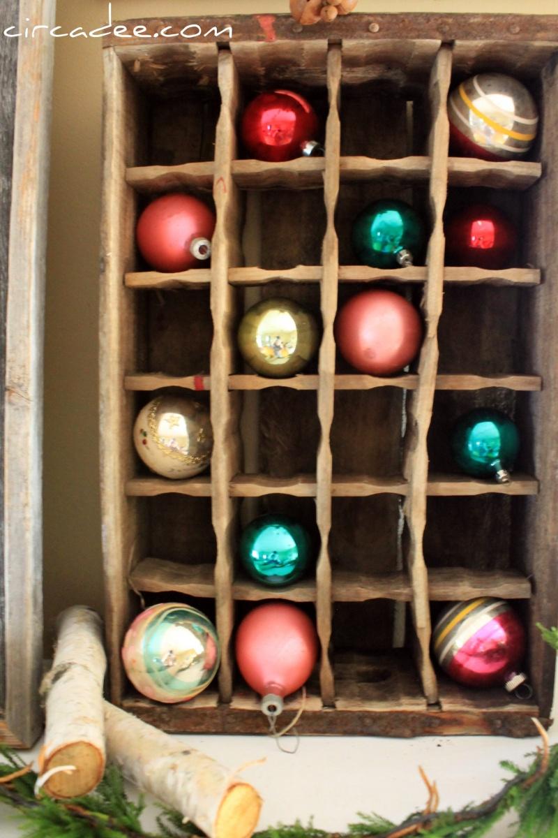Christmas ornament display case - Diy Rustic Recycled Christmas Ornament Display Via Circadee